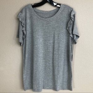 NEW!! 14th & Union Grey Tee with Ruffled Sleeves